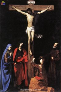 Nicolas Trournier, The Crucifixion with St. Vincent de Paul